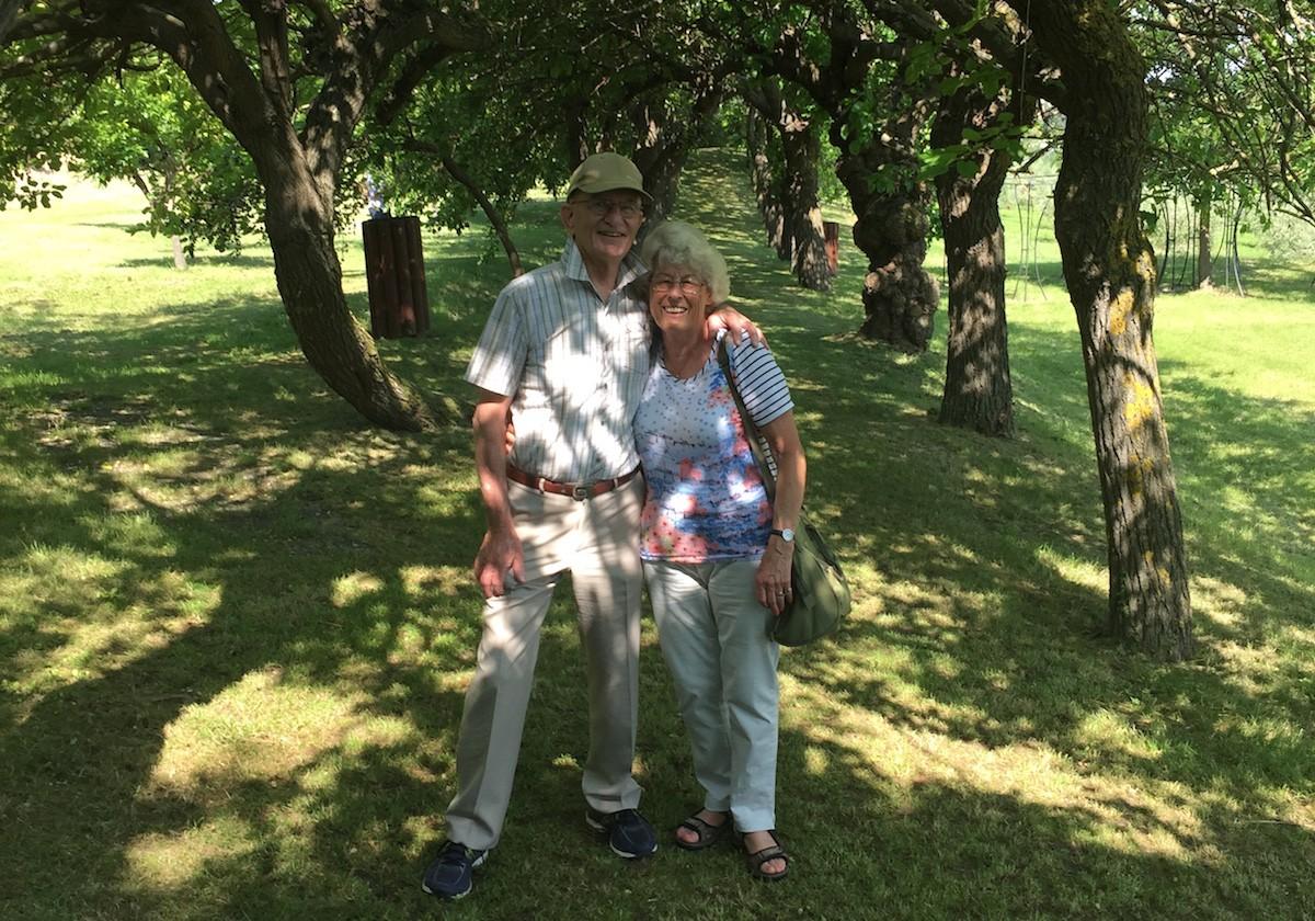 Bill and Hilda around the vineyard